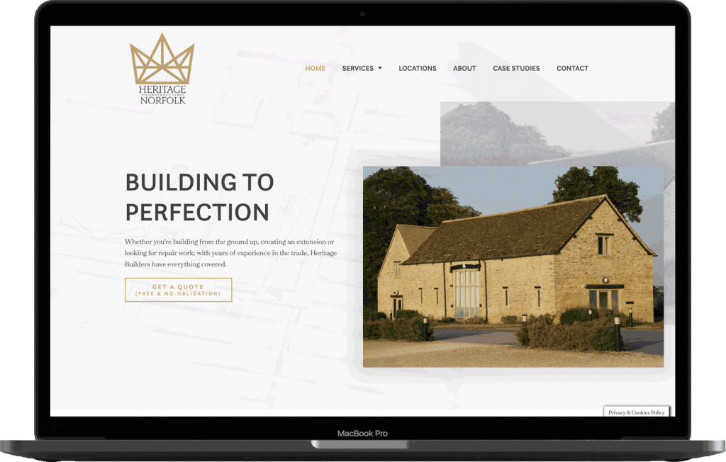 Heritage Construction Website Design Mockup