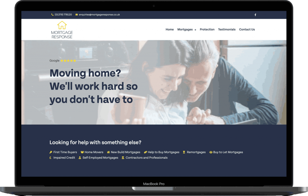 Mortgage Response Website Design Mockup